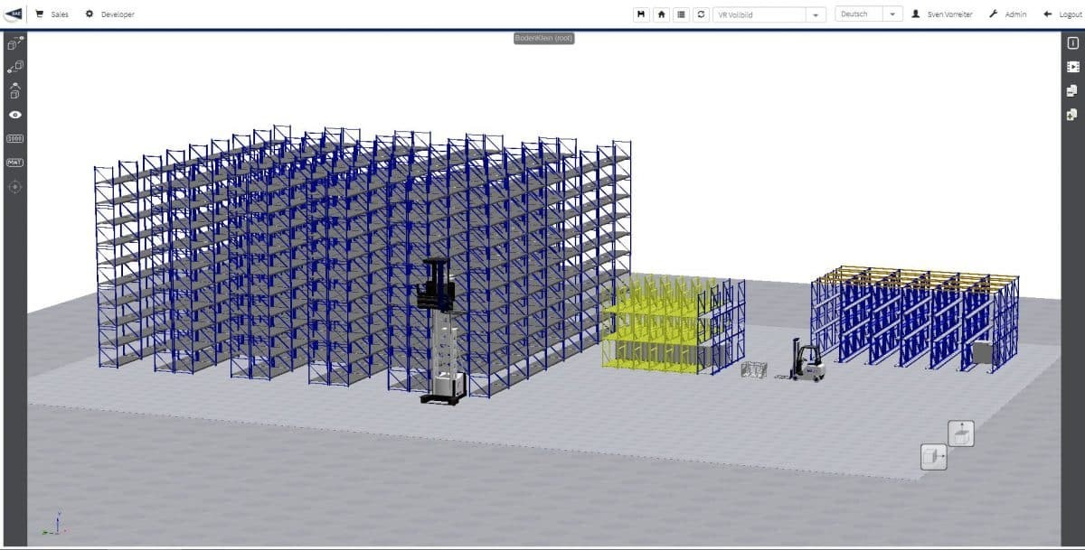 3D CPQ virtuelles Logistiksystem