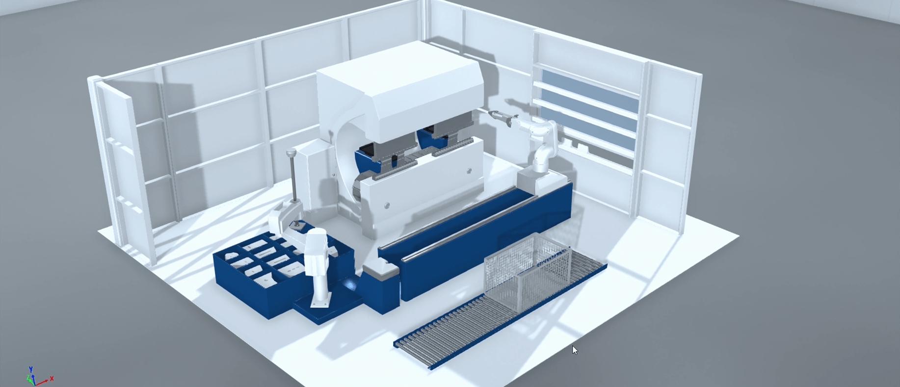 Digitales 3D Modell einer Biegemaschine und eines Roboter
