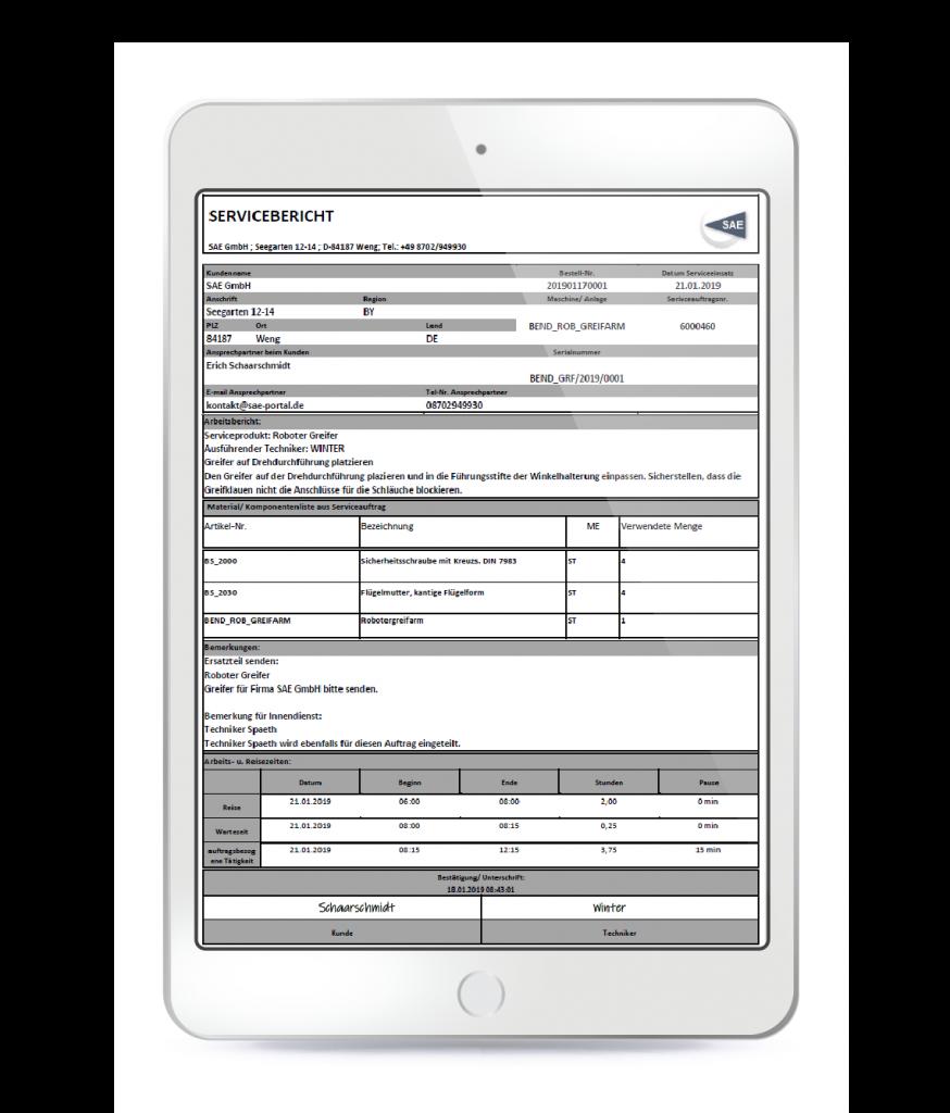 servicebericht mobile