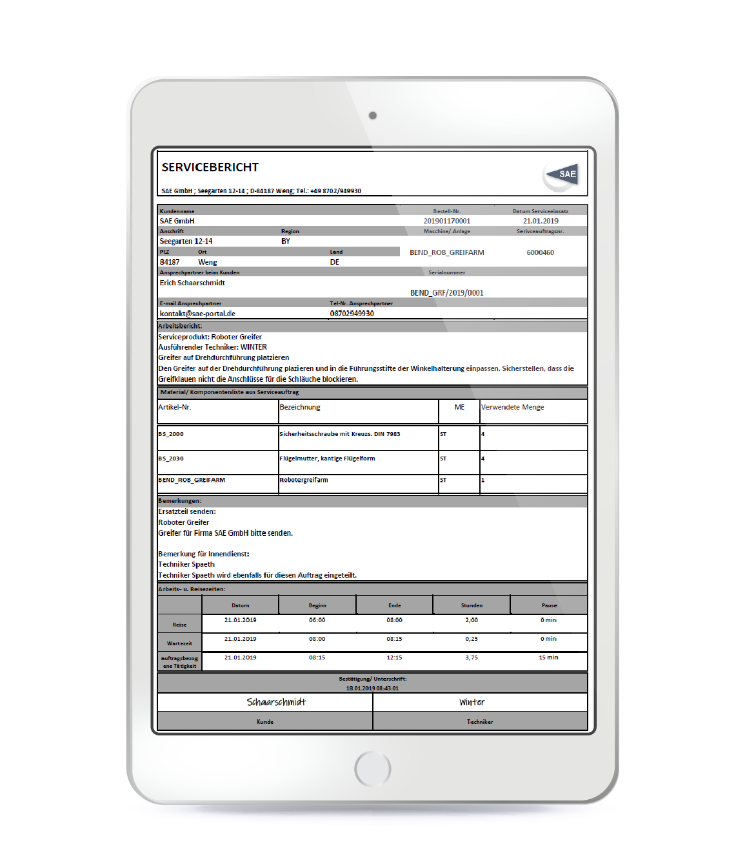 Servicebericht der sae mobile service Software