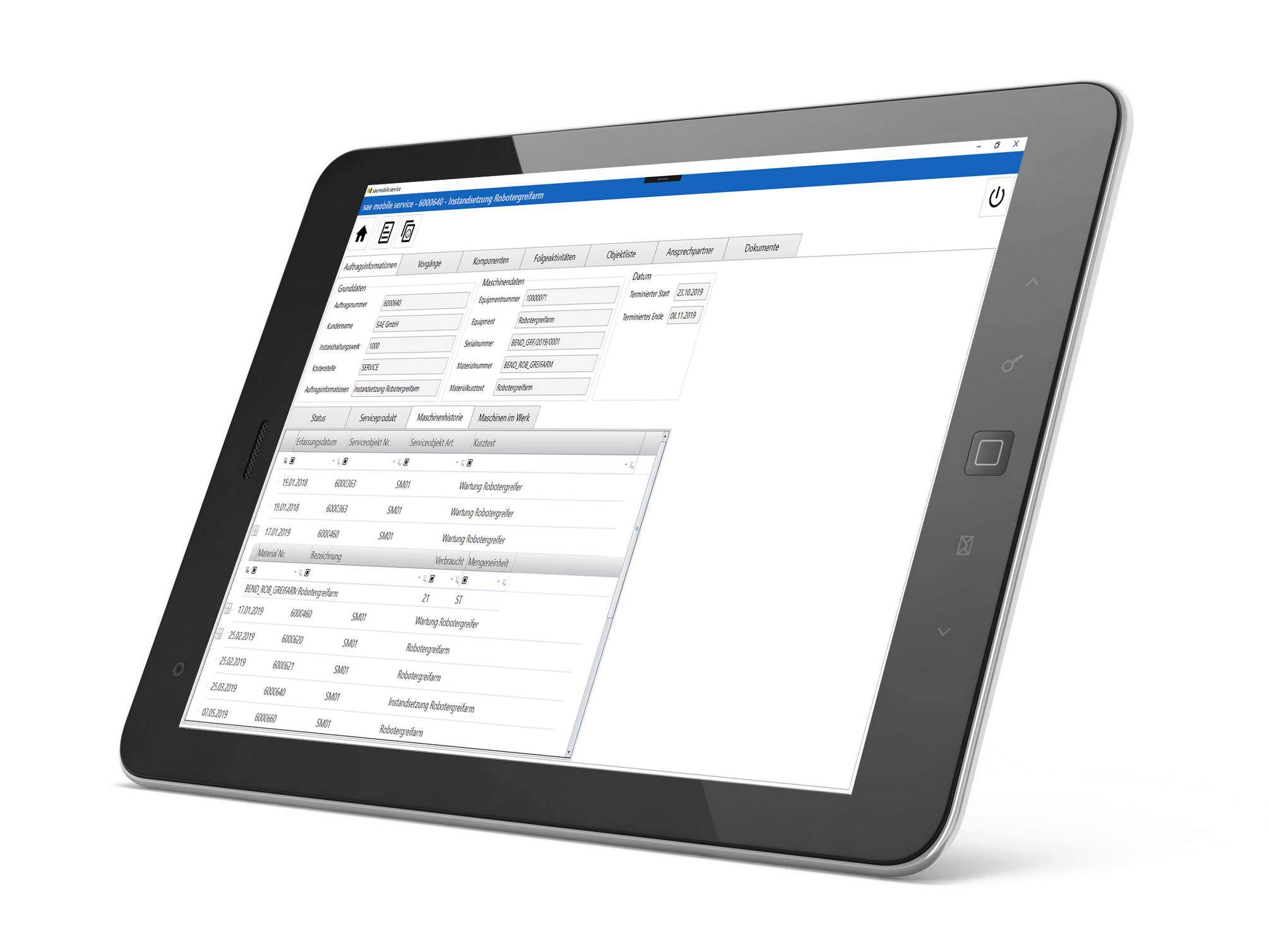 Mobile software für service technician