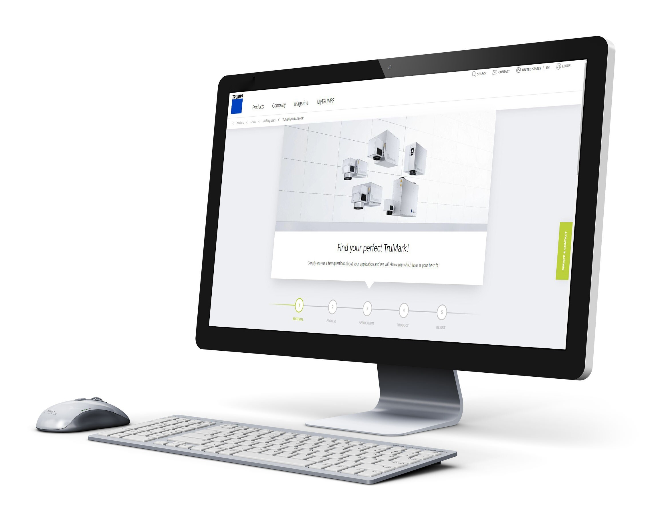 SAE Product finder auf Trumpf Website